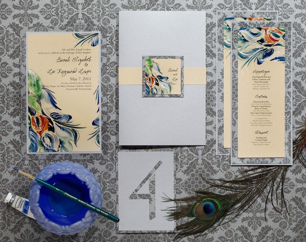 Painted Swirls Wedding InvitationsMomental Designs