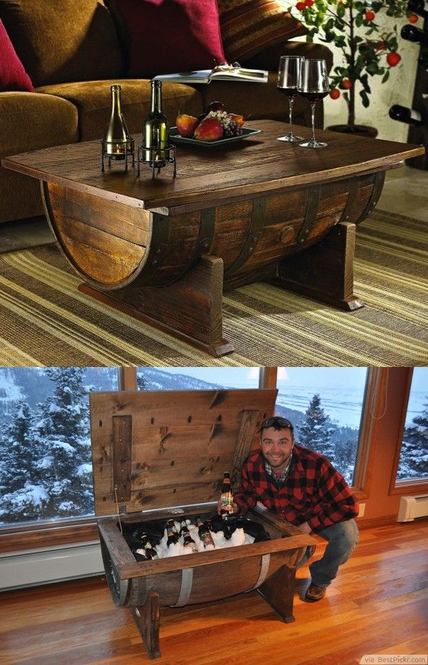 Diy old wine barrel coffee table with storage for cool for Cool coffee tables diy