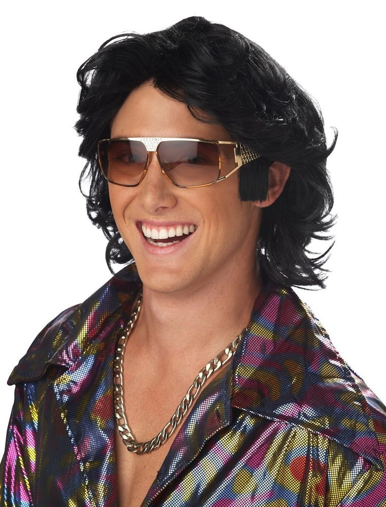 70s Feathered Hair Black Disco Men Costume Wig   Feathered ...