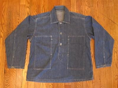 Vintage 1930s Pre WW2 US Army CCC Pullover Blue Denim Work Shirt ...