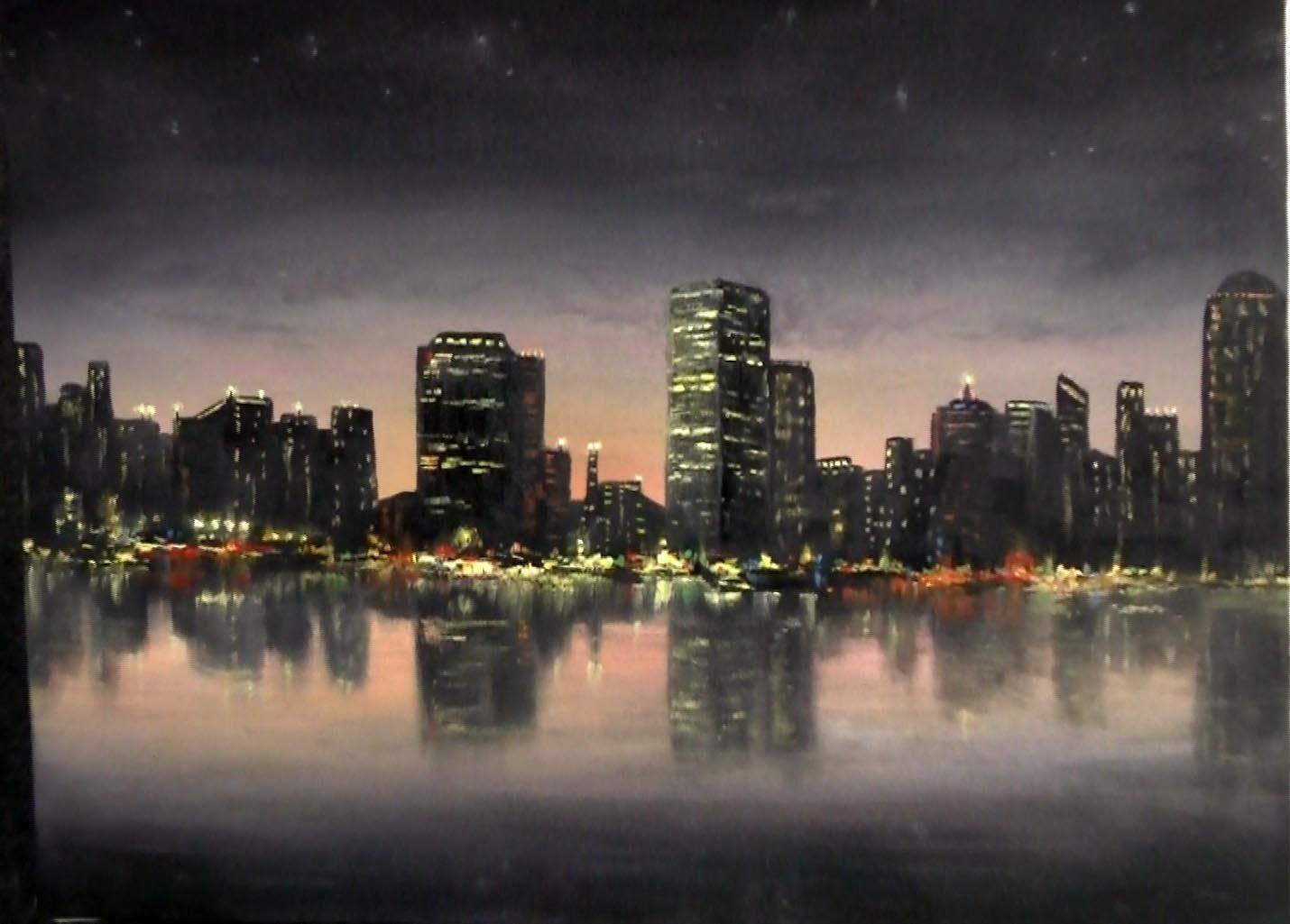 A Calming Night Time Cityscape Painting For More