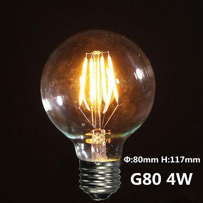 Details About E27 Cob Vintage Antique Edison Style Clear Glass Light Lamp Globe Bulb 240v Temperatura Del Color Bombillas Led