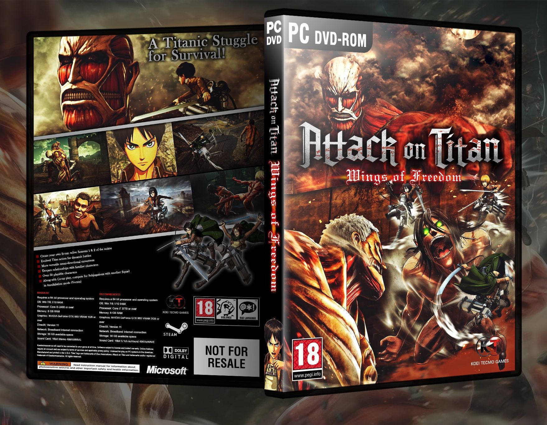 Attack on Titan: Wings of Freedom box art cover | PC DVD