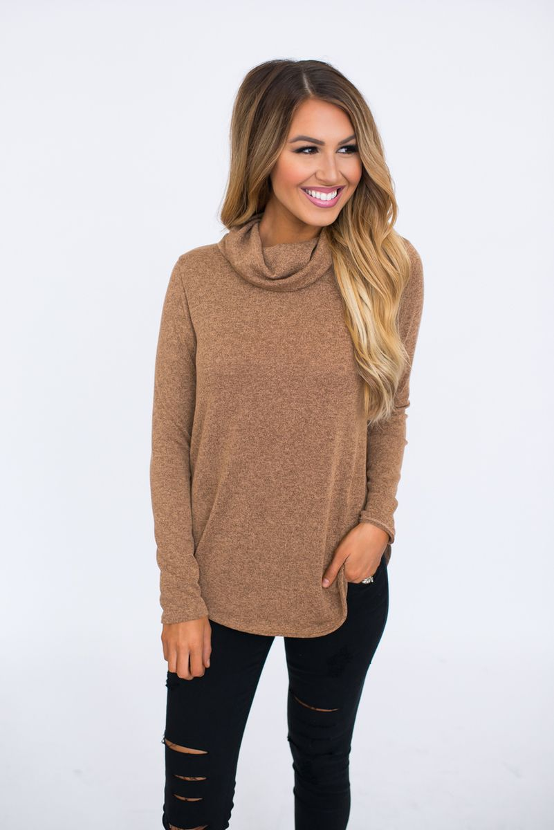 Cowl Neck Knit Sweater- Camel - Dottie Couture Boutique | WOMEN'S ...