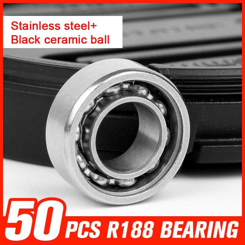 50pcs R188 Stainless Steel Black Ceramic Ball Bearings For Plastic Wheel Rotation Time Long Fidget Spinner Tool Accessor Spinner Tool Tool Accessories Hardware