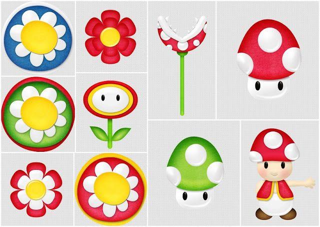 Flores Y Hongos Del Kit Gratis De Scrapbook De Super Mario Bros Mario Bros Fiesta De Mario Bros Super Mario Bros