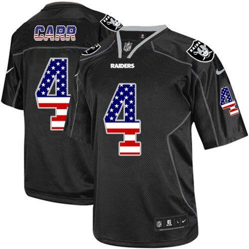 Men's Nike Oakland Raiders #4 Derek Carr Elite Black USA Flag Fashion NFL Jersey