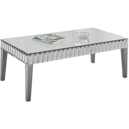 Monarch Coffee Table 48 inchX 24 inch / Brushed Silver / Mirror