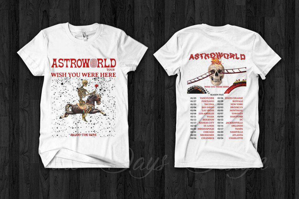 Travis Scott Astroworld Tour 2019 Merch Festival Pop Up Season Pass Rap T Shirt