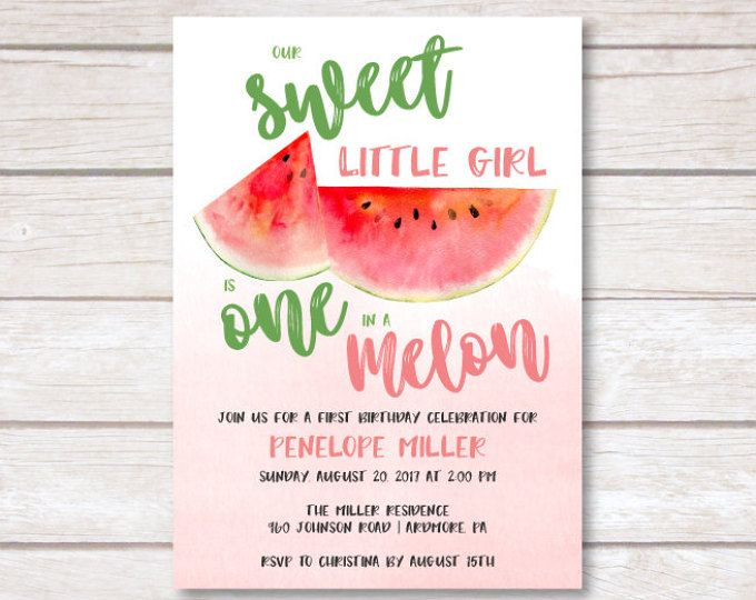 1st birthday one in a melon printable invitation watermelon first