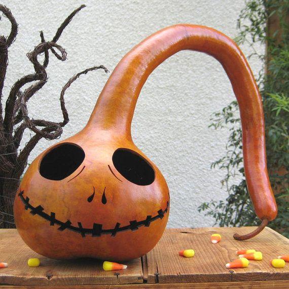 Halloween - Jack Skellington pumpkin/gourd Decoration (inspired by - tim burton halloween decorations