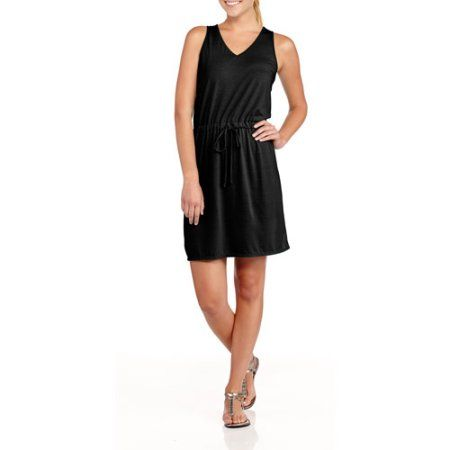 Faded Glory Women's Solid Scoop Neck Tank Dress, Size: Medium, Black