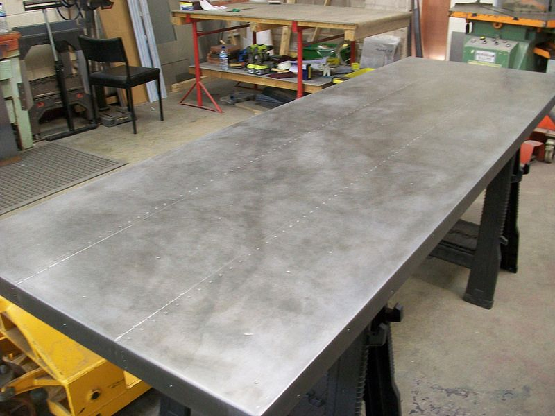 80 Zinc Table Top Light Patina Mock Rivets Zinc Table Top Zinc Table Table