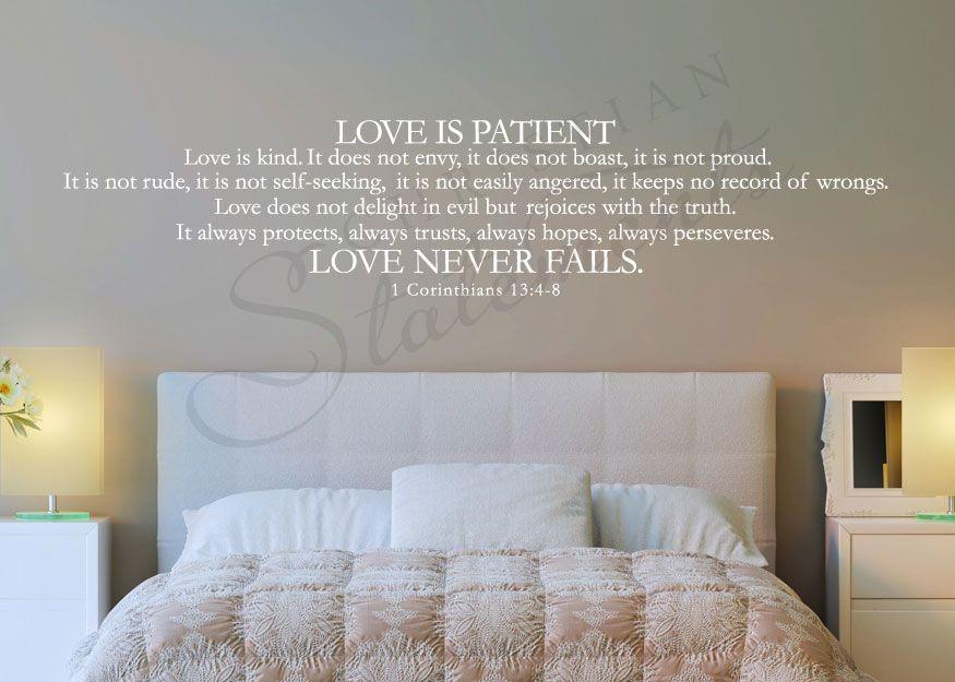 1 Corinthians 13 4 8 Bible Wall Decal Love Never Fails Home Diy Apartments Bedroom Wall