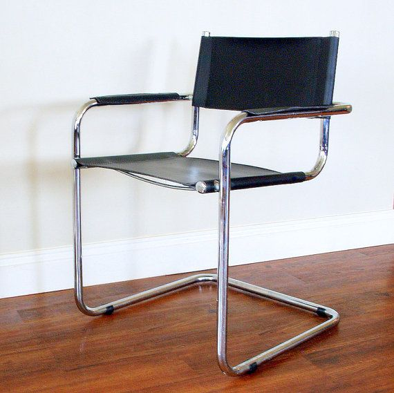Modern Vintage Black Leather Chair Cantilever Tubular Chrome Steel