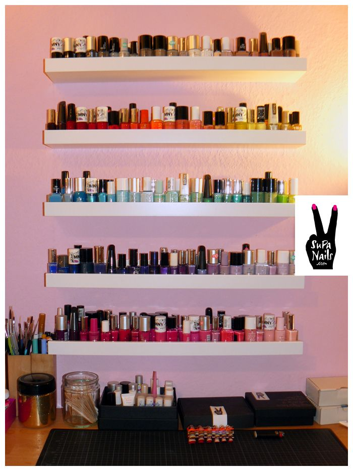 Shelves for when they no longer fit in my OPI box!! | Beauty ...