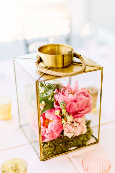 Pink and gold charleston wedding by kelly dillon lets get married floral arrangements in a lantern by branch design studio photo by kelly dillon via southern weddings junglespirit Choice Image