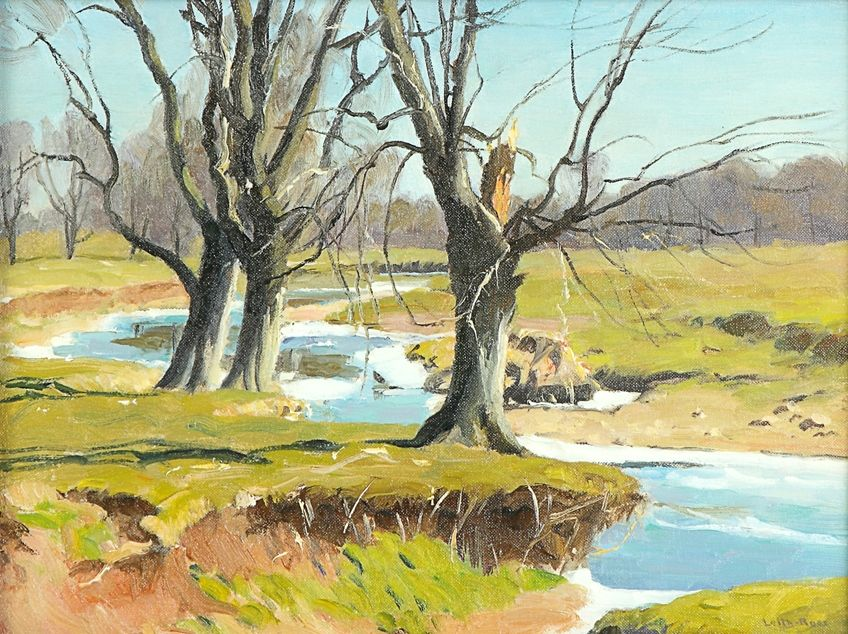 """Clover Brooke, New Hope, PA,"" Harry Leith-Ross, oil on artist board, 12 x 16"", private collection."