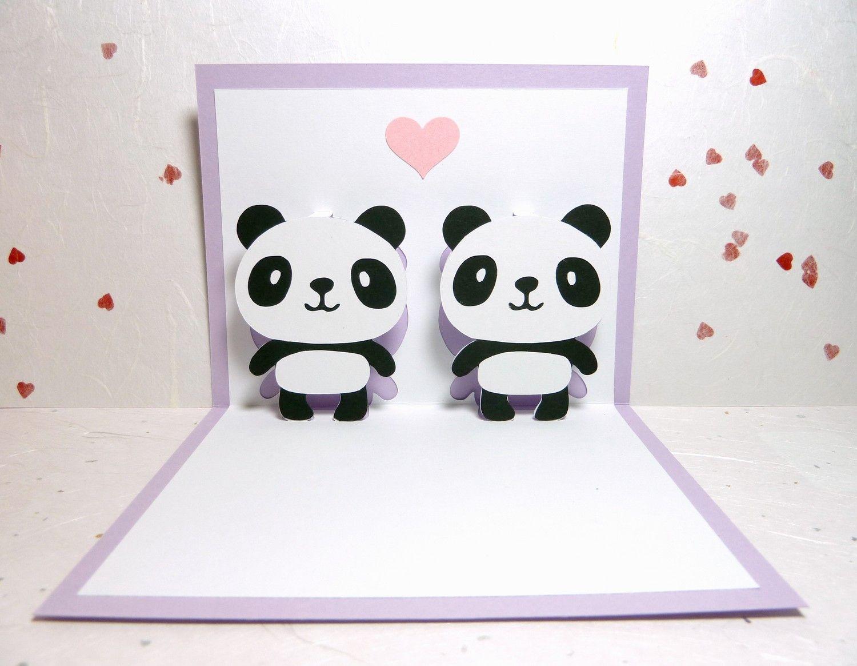 Pandas In Love 2 Pop Up Card 8 85 Via Etsy Panda Card Panda Love Cards