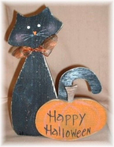 Primitive Wood Pumpkin Patterns Primitive Halloween Black Cat Halloween Black Cat Sign Primitive Pr Fall Halloween Crafts Halloween Crafts Halloween Projects