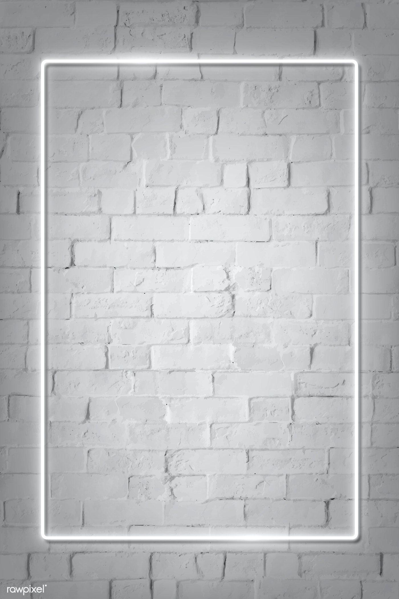 Download Premium Vector Of Rectangle White Neon Frame On A White Brick White Brick Walls Neon Wallpaper Framed Wallpaper