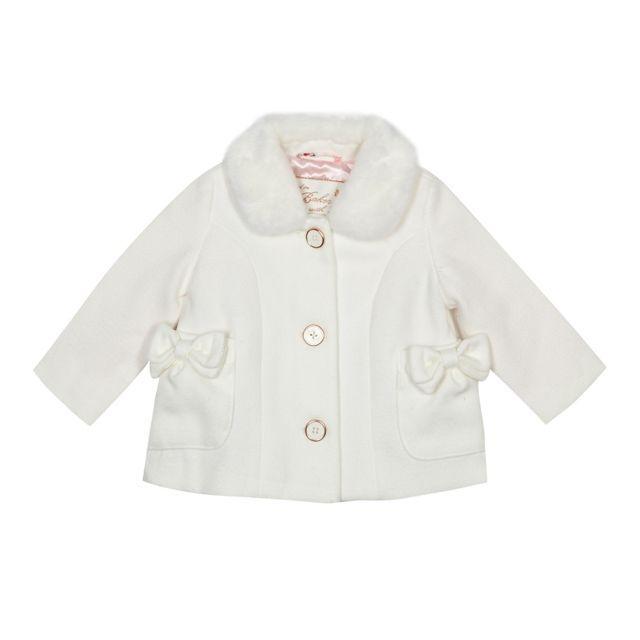b4256f45d0f6f Baby girls  white faux fur trim coat