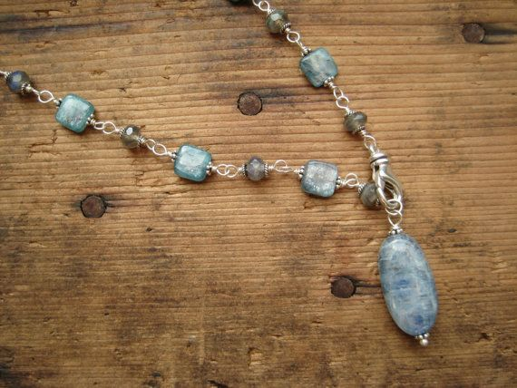 SALE  Kyanite and Labradorite Sterling Silver by hoitytoitydesigns, $26.00