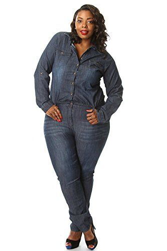 Fashion Plus Size Long Sleeve Denim Jumpsuit Wwwfashionbugus