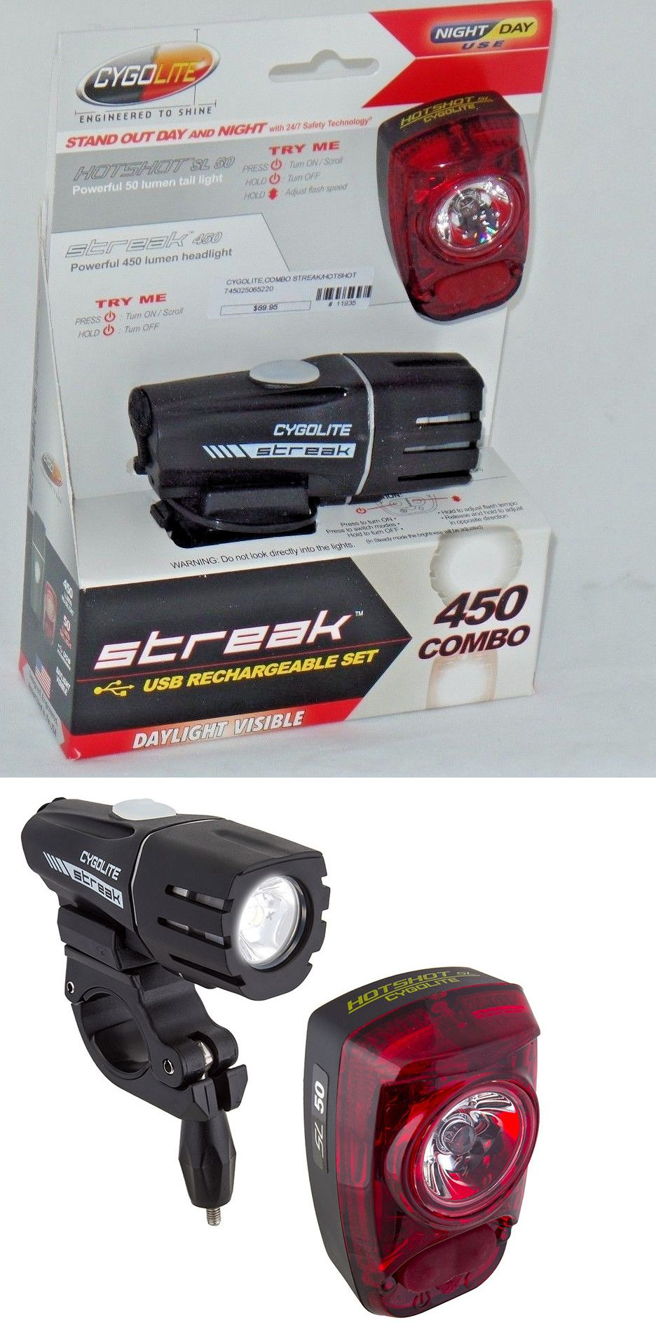 Lights and Reflectors 22689: Cygolite Streak 450 Headlight And Hotshot Sl 50 Tail Light Combo, Day Night Use -> BUY IT NOW ONLY: $53.9 on eBay!