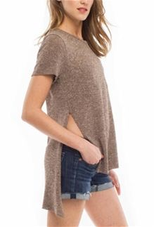 b3cf4288648c6 AnM Clothing Marled Side Slit Shirt AS15001