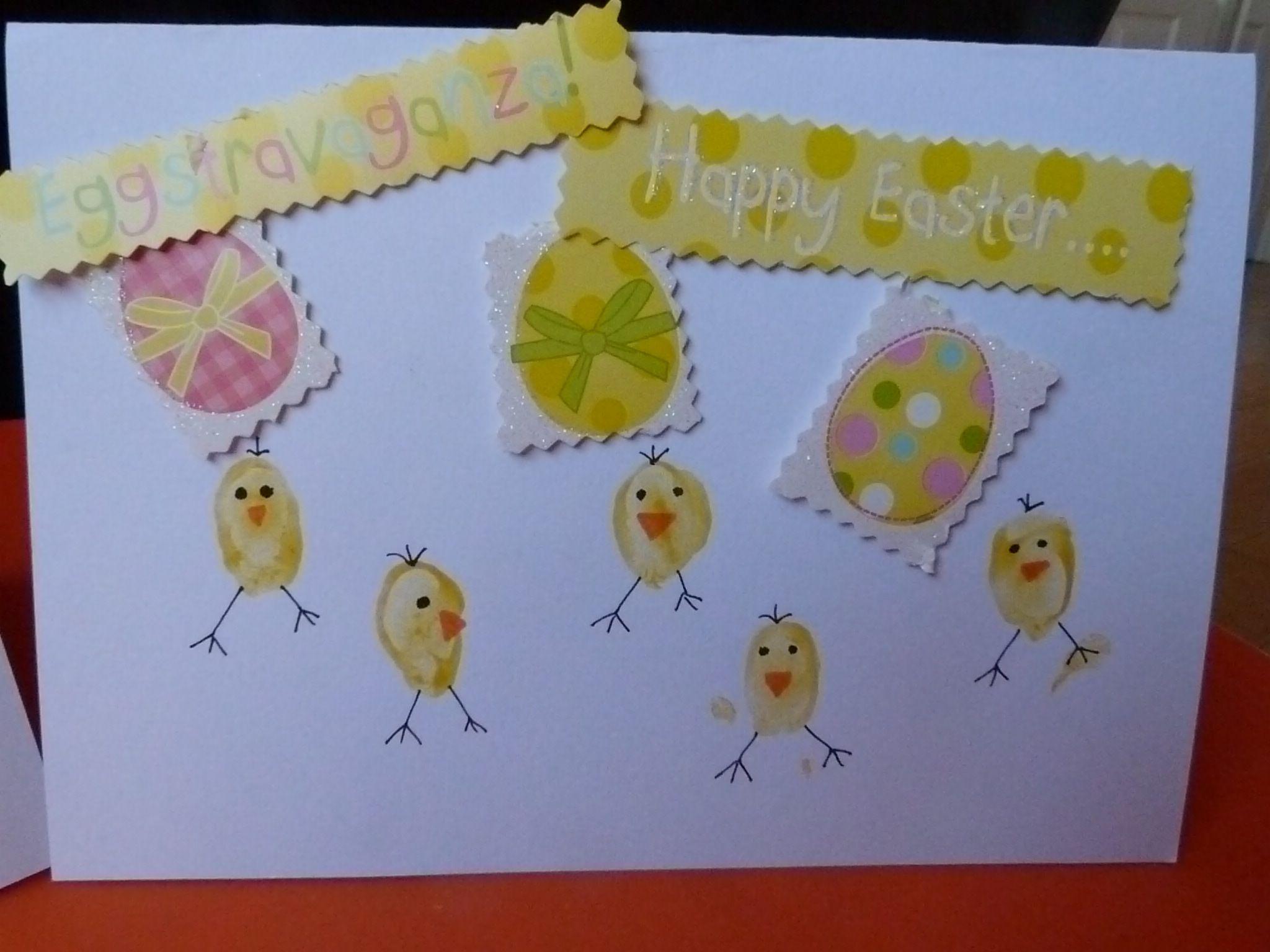 Fingerprint Chicken Easter Card Eyfs Easter Cards Easter Crafts Cards