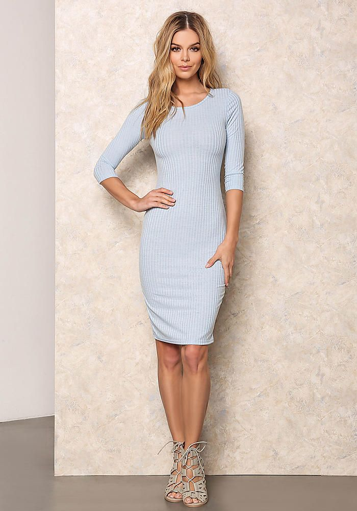 35f5e80b2f57 Baby Blue Ribbed Bodycon Midi Dress - Dresses | Dresses | Dresses ...