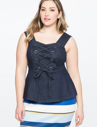 denim lace up bustier top hot summer  denim and lace