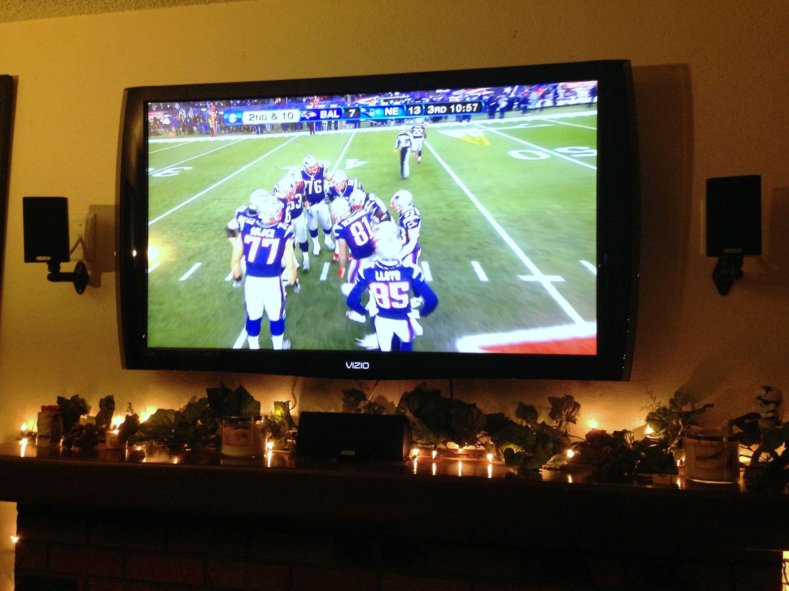 Tv Wall Mount Above Fireplace With Surround Sound Speakers Awsome Would Love This During Football Season Wall Mounted Tv Home Theater Installation Tv Wall