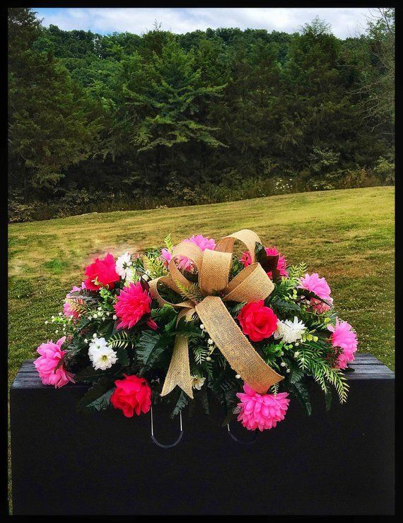Grave Decoration Headstone Flowers Cemetery Saddle For Mom