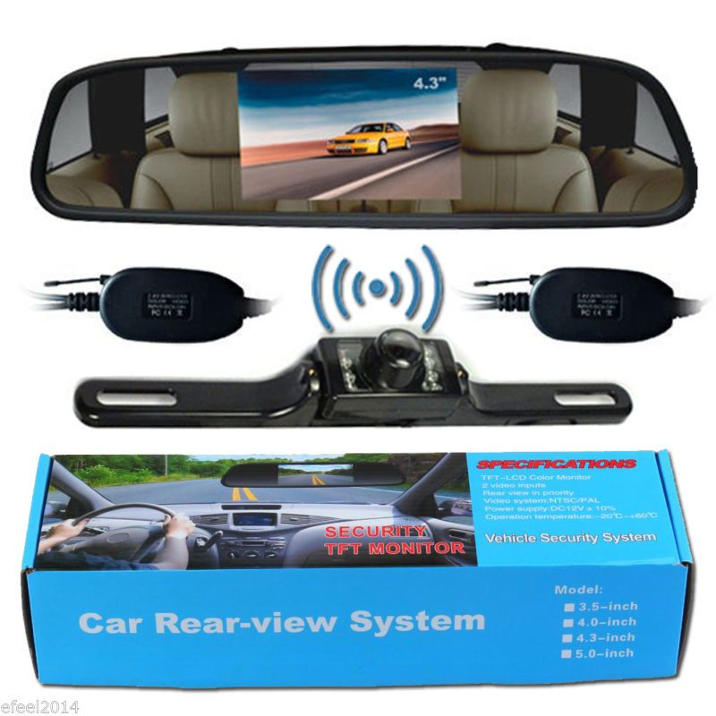 "Wireless Reverse Car Backup Camera With 4.3/"" Rear View Mirror Monitor"