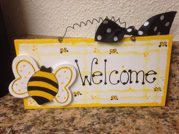 BUMBLE BEE WELCOME Sign Country Wood Crafts Decor By EvansCraftHut