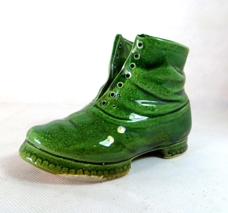 Antique ceramic boot 19thc victorian majolica glossy green antique ceramic boot 19thc victorian majolica glossy green figural shoe planter or spill vase 1880s reviewsmspy