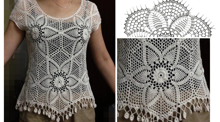 Patrón para tejer blusa a crochet en hilo de color blanco. Ver ...