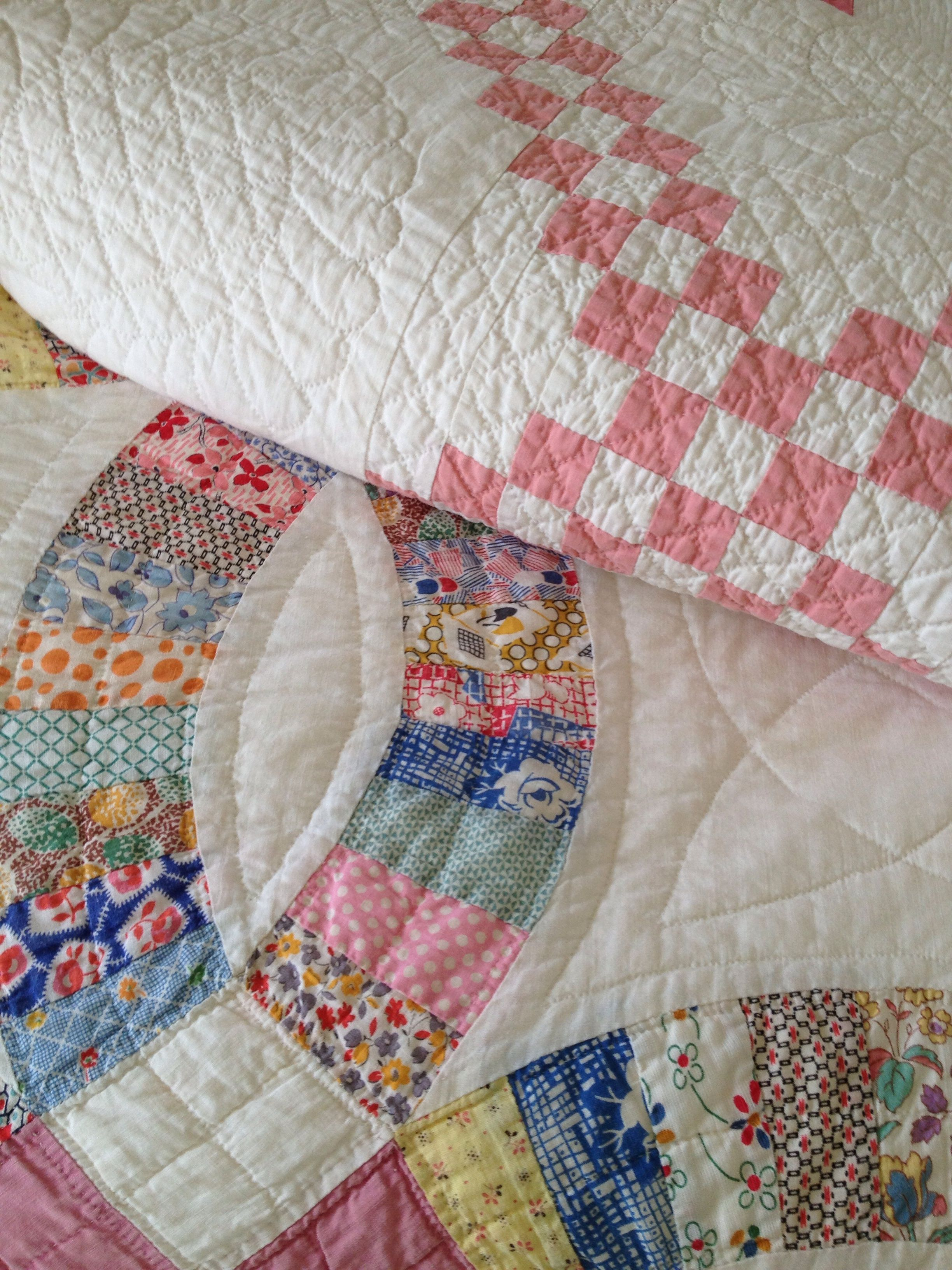 Beautiful Irish chain and wedding ring quilts.1920's/1930
