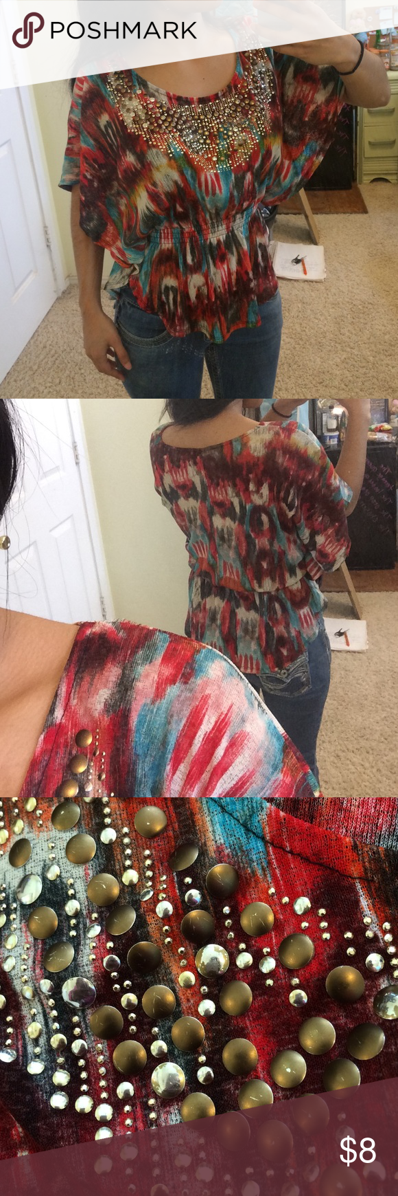 Colorful Top The paint on some beads is scratched off. The entire shirt is stretchy. Daytrip Tops Blouses