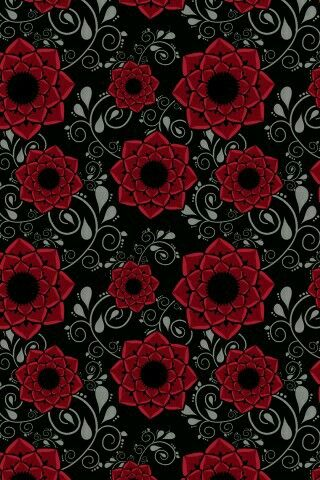 Red And Black Floral Print Red And Black Background Red And Black Wallpaper Black And White Wallpaper