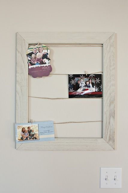 Christmas Card Holder Out Hollowed Out Frame, Wire And Tiny Clothespins