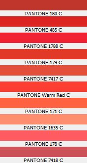 Pantone 180 C 485 1788 179 7417 Warm Red 171 1635 178 7418