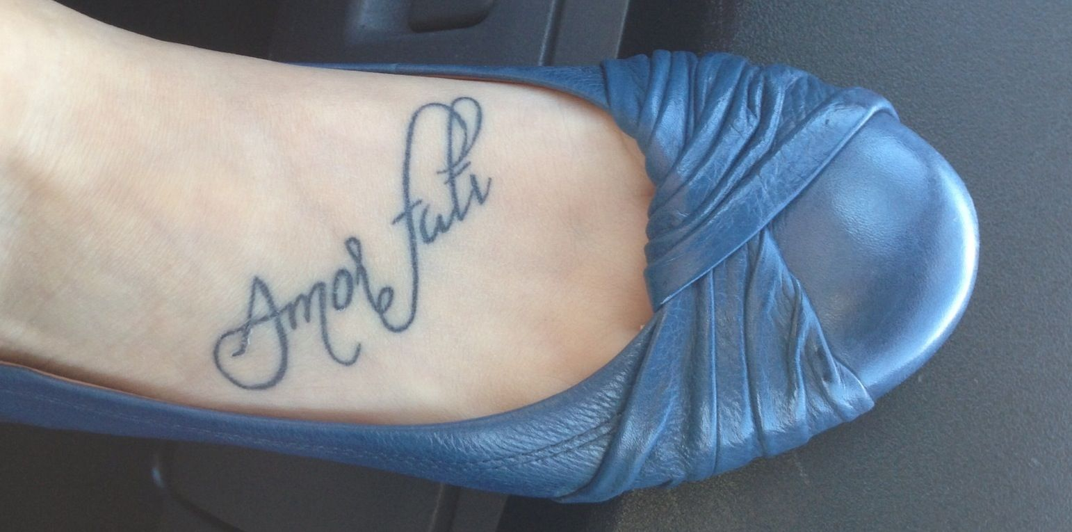 My foot tattoo 'Amor fati' love your fate Ink