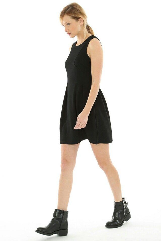 #informal #black #dress #boots