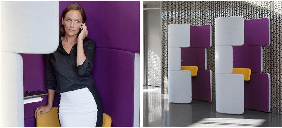 Belcel / Phone Booth van Bene  Het woord zegt het al, een Belcel is ontwikkeld om in te bellen of Skypen in een rustige omgeving.  Voor het voeren van een privacy gesprek of een skypesessie in absolute rust is deze belcel geschikt.