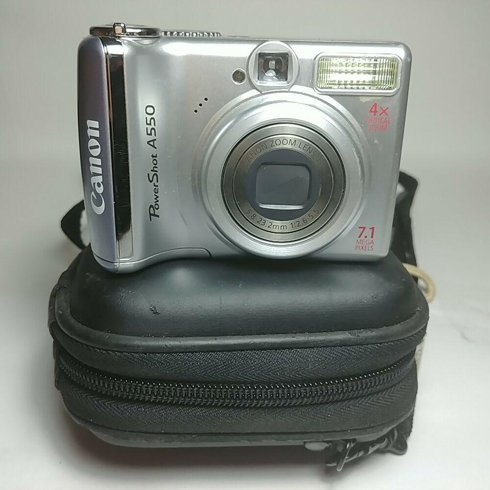 Canon Powershot A550 Digital Camera 7 1mp 4x Optical Zoom With Carrying Case Canon Powershot Canon Powershot Digital Camera