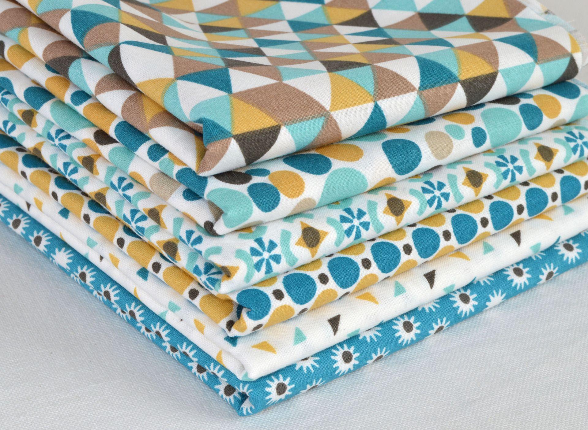 lot de 6 coupons tissu patchwork turquoise moutarde 50 x. Black Bedroom Furniture Sets. Home Design Ideas