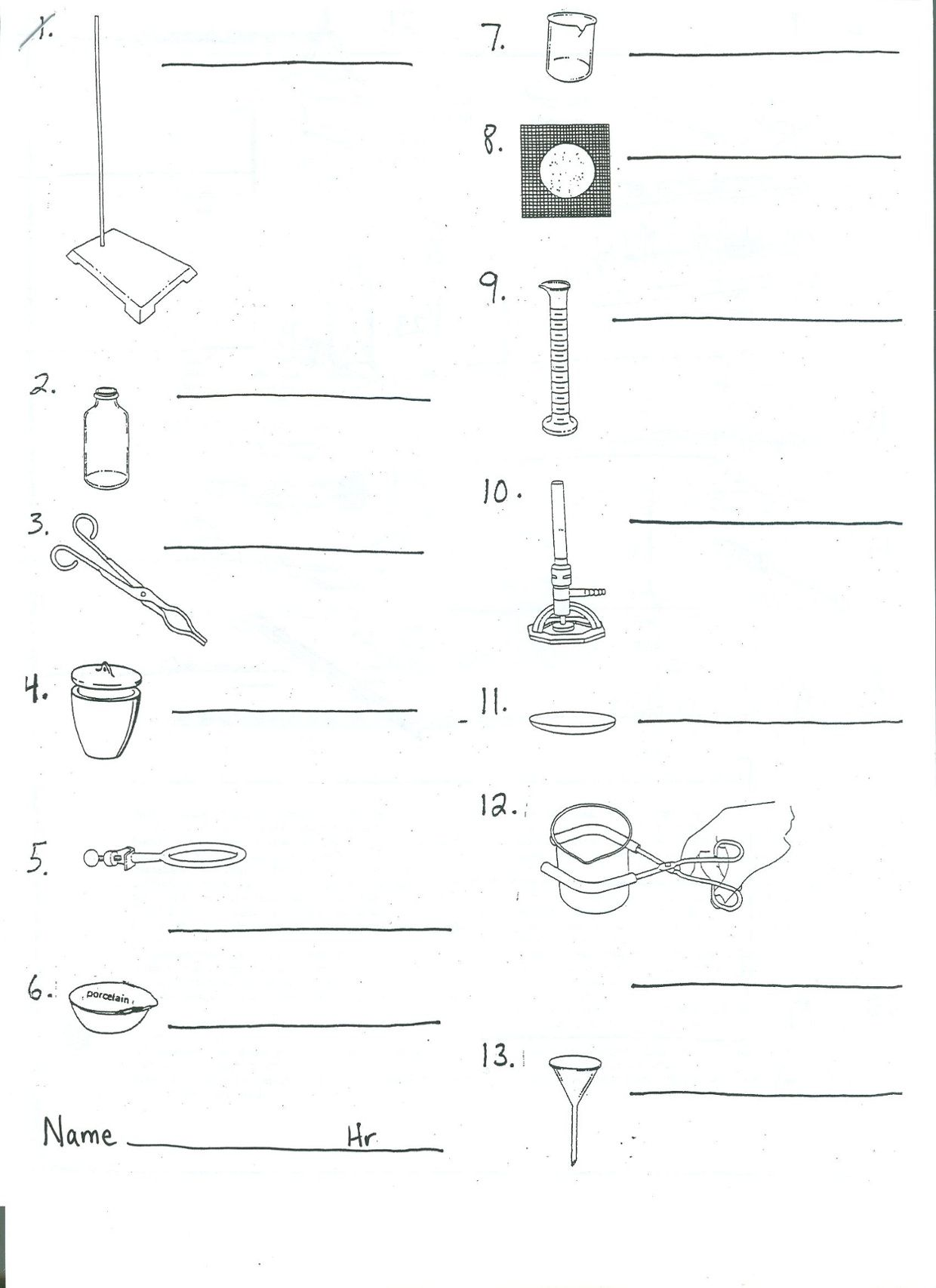 Worksheet On Lab Apparatus